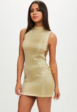 Gold Lurex High Neck Lace Up Bodycon Dress