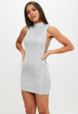 Silver Lurex High Neck Lace Up Bodycon Dress