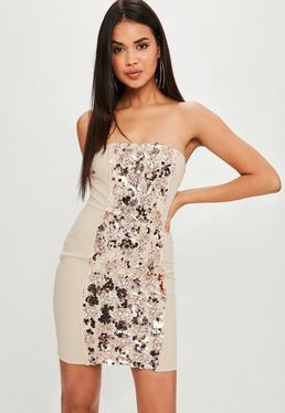 Beżowa bandażowa cekinowa sukienka