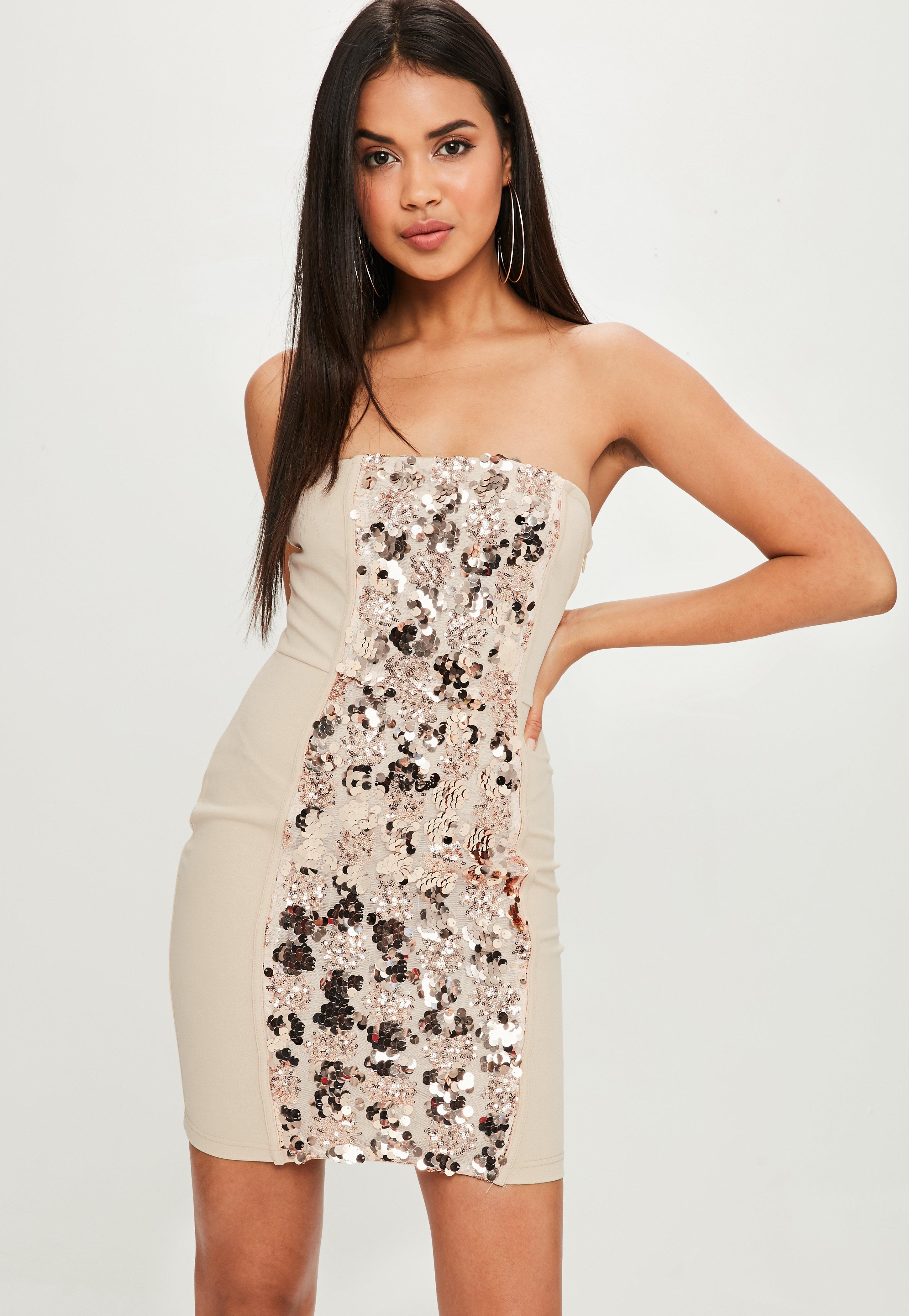 Nude Bandeau Sequin Dress | Missguided