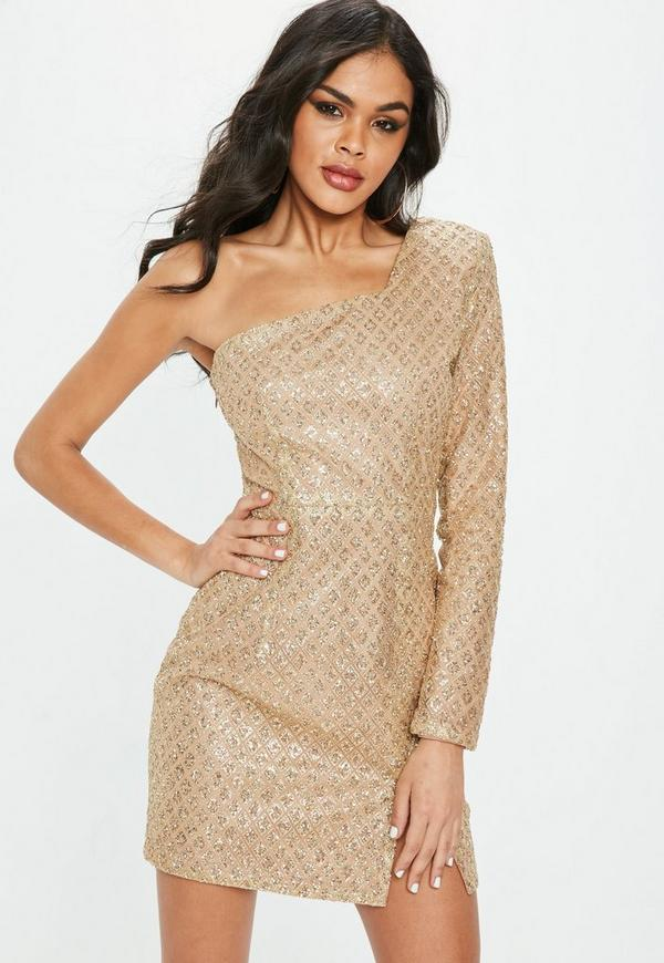 Gold One Shoulder Glitter Hem Bodycon Dress by Missguided