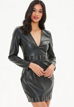 Black Faux Leather Metal Eyelet Bodycon Dress