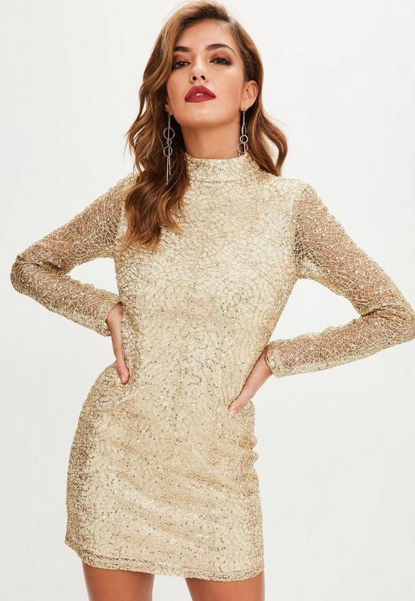 Summer grand gold sequin long sleeve bodycon dress
