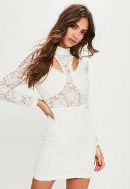 White High Neck Cut Out Panelled Bodycon Dress