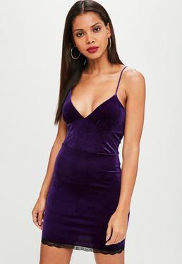 Purple Velvet Bust Cup Strappy Bodycon Dress