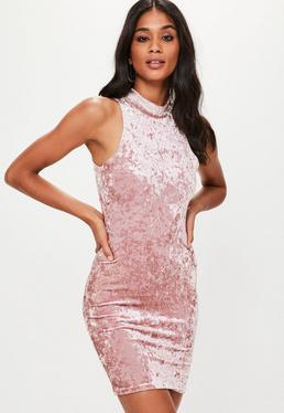 Pink Velvet High Neck Bodycon Dress