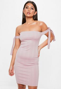 Pink Bandage Bardot Tie Sleeve Dress