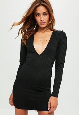 Black Ribbed Plunge Long Sleeved Bodycon Dress