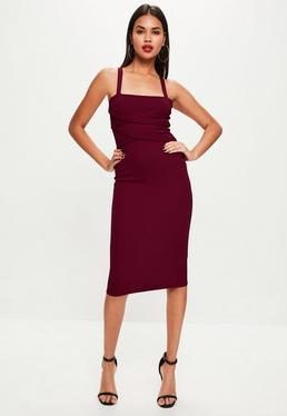 Burgundowa dopasowana sukienka midi na ramiączkach