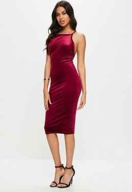 Burgundy Velvet Strappy Scoop Back Midi Dress