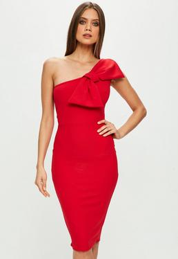 Red One Shoulder Bow Detail Dress