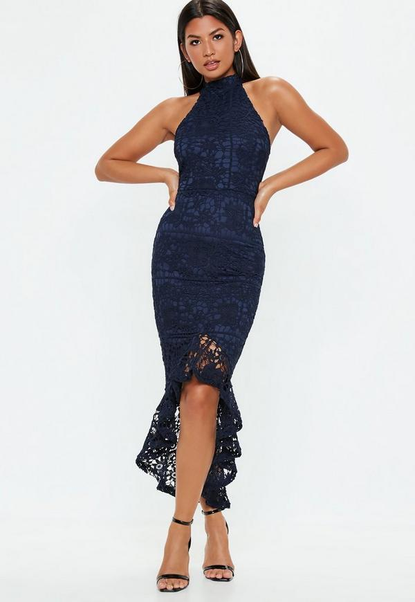 4ce126321ce3 Navy Lace high Neck Fishtail Midi Dress | Missguided