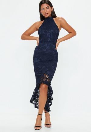 6f54d29f35f3 £50.00. navy lace high neck fishtail midi dress