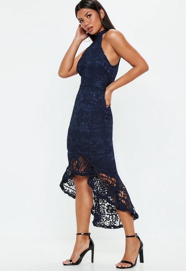 d1b6bed40f79 Navy Lace high Neck Fishtail Midi Dress. Previous Next