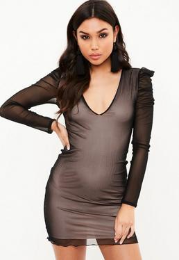 Black Mesh Plunge Mini Dress