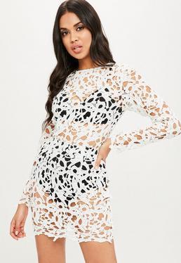 White Round Neck Bodycon Crochet Dress