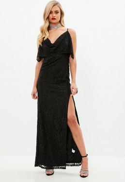 Black Strappy Lace Cowl Split Maxi