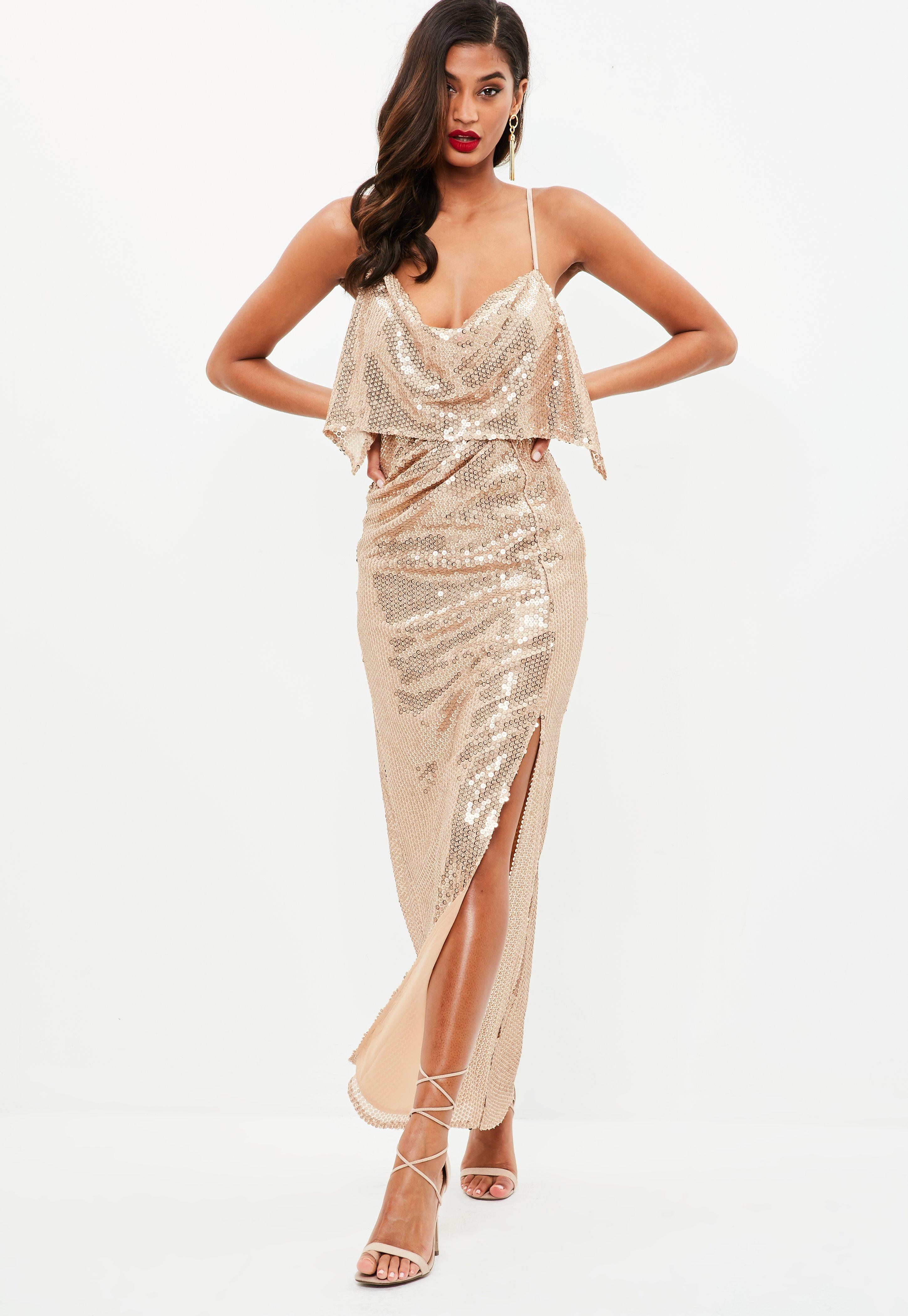 Gold dress with black shoes