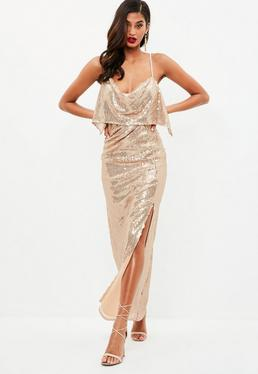 Złota cekinowa sukienka na ramiączkach