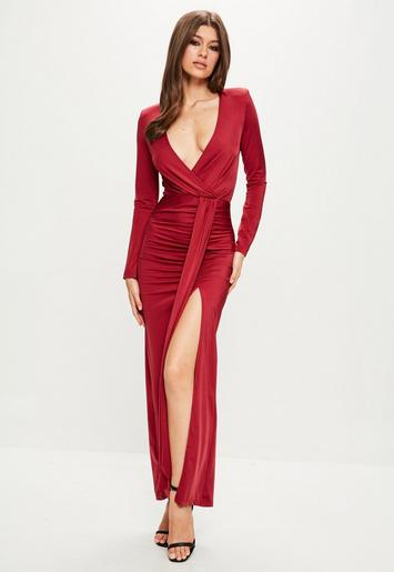 Peace Love Red Long Sleeve Wrap Maxi Dress Missguided