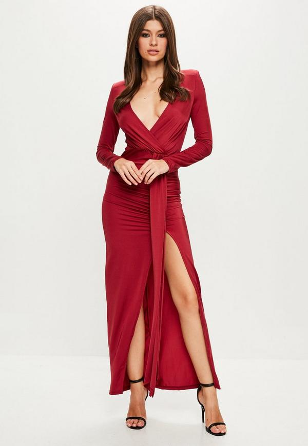 Peace + Love Red Long Sleeve Wrap Maxi Dress | Missguided
