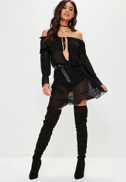 Black Mesh Waist Tie Bardot Mini Dress