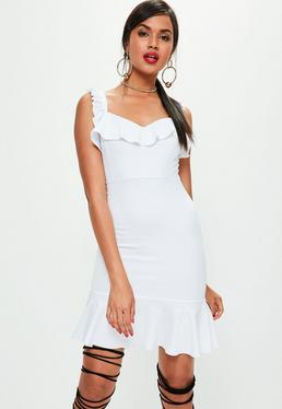 White Frill Detail Mini Dress