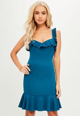 Blue Frill Detail Mini Dress