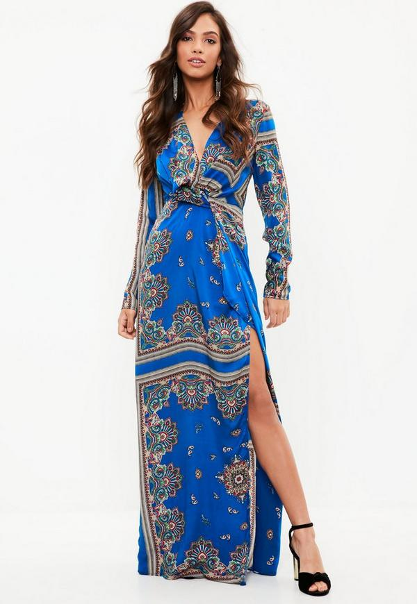 Blue Paisley Print Wrap Front Maxi Dress Missguided