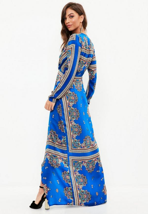 Blue Paisley Print Wrap Maxi Dress Missguided Ireland