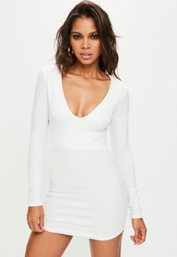 White Plunge Crepe Bodycon Dress