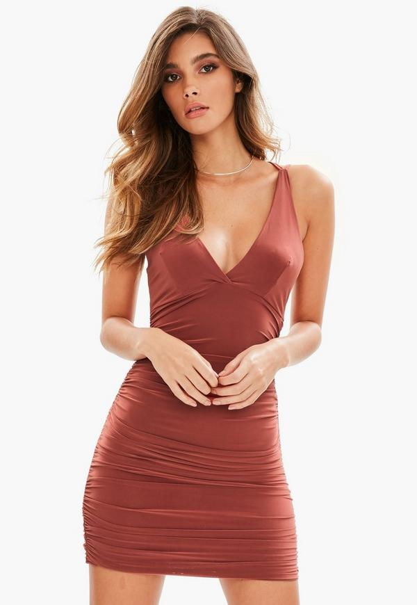 8273a1552a9 ... Brown Slinky Cross Back Ruched Side Bodycon Dress. Previous Next