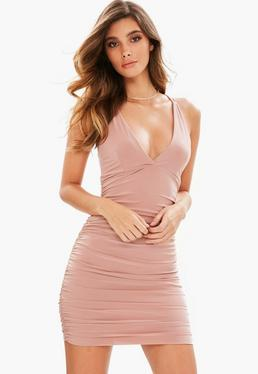 Pink Slinky Cross Back Ruched Side Bodycon Dress