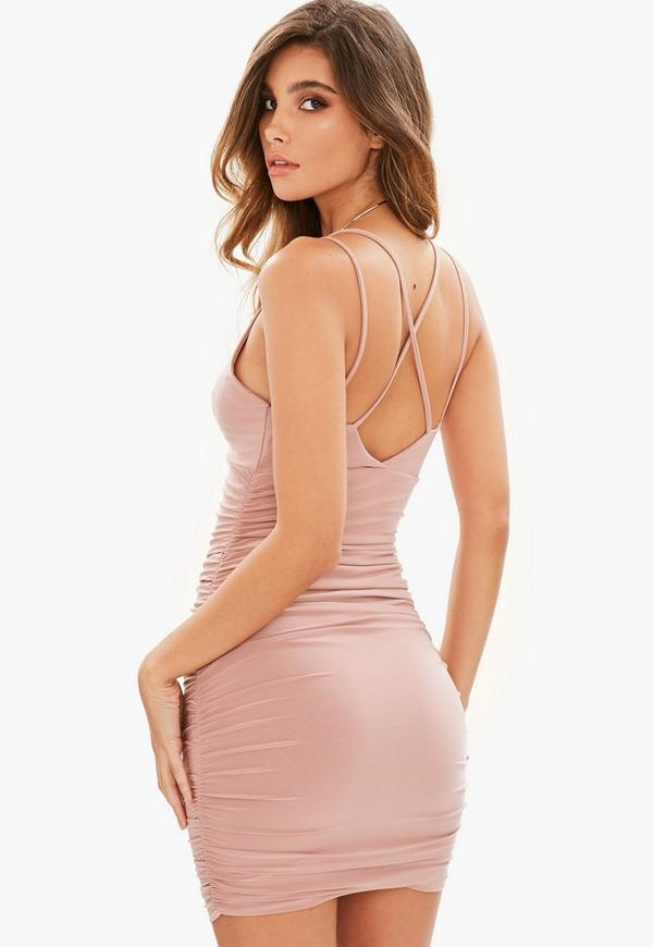 Rose Slinky Cross Back Ruched Side Bodycon Dress Missguided