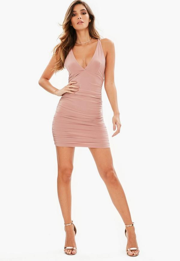 Cheap ruched back bodycon dress