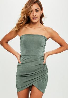 Khaki Bandeau Ruched Side Bodycon Dress