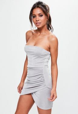 Gray Slinky Bandeau Mini Dress