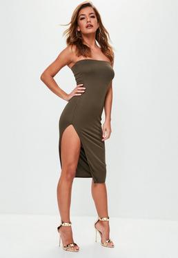 Khaki Crepe Split Side Bandeau Mini Dress