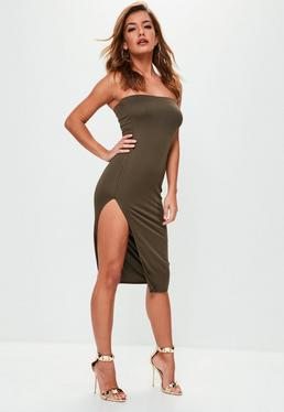 Khaki Crepe Split Side Bandeau Mini Dress