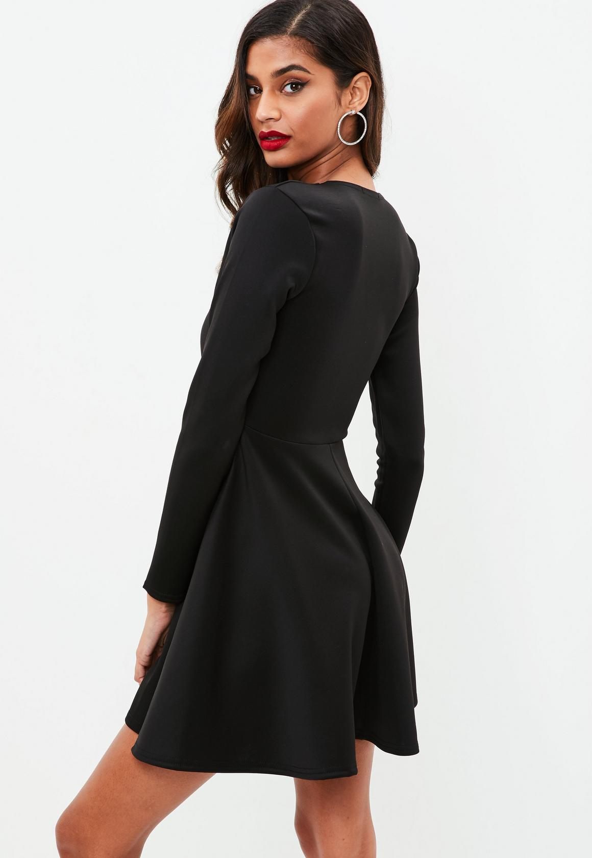 716a0a8151 Missguided - Black Scuba Plunge Skater Dress