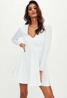 All white skater dress
