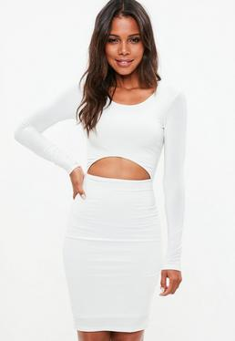 White Slinky Cut Out Bodycon Midi Dress