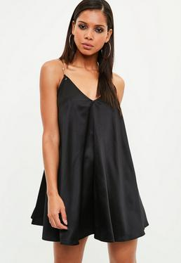 Black Chain Strap Satin Swing Dress