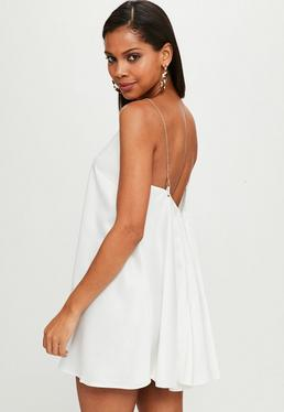 White Chain Strap Satin Swing Dress