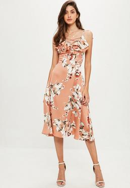Nude Satin Floral Printed Frill Strappy Midi Dress
