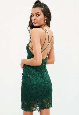 Green Lace Strappy Cross Back Bodycon Dress
