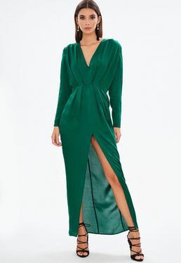 Green Satin Long Sleeve Plunge Pleated Maxi Dress