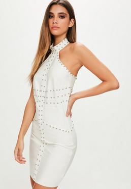 Premium White Studded High Neck Mini Dress