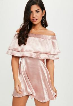 Pink Hammered Satin Bardot Dress