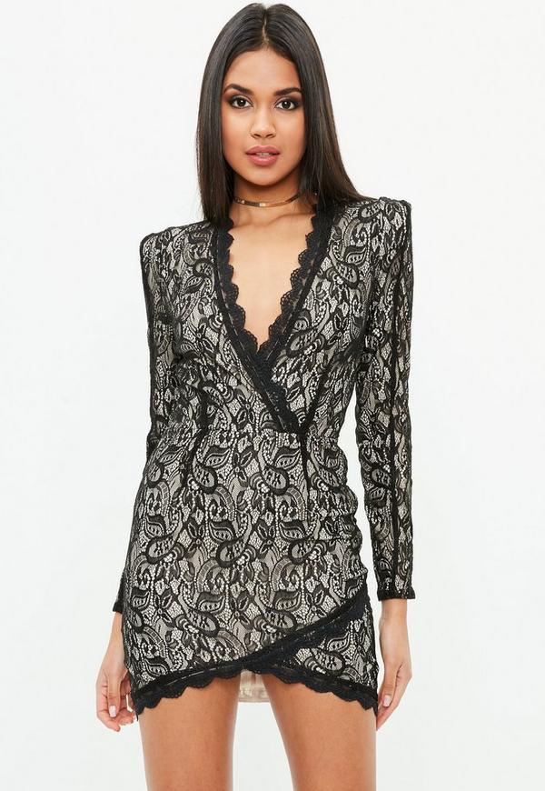 Black Lace Shoulder Pad Dress Missguided